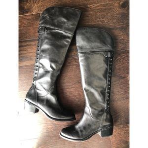 Vince Camuto thigh-high studded boots, blk leather